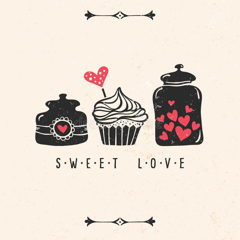Valentine's day greeting card with heart, cupcake, jar royalty free illustration