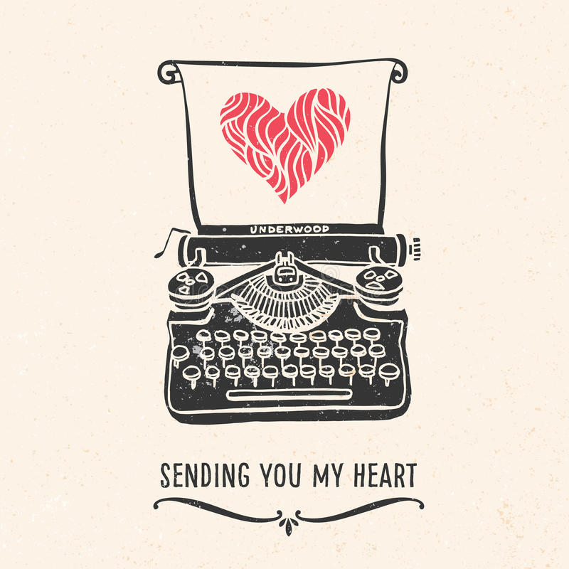 Valentine's day greeting card with lettering, typewriter, heart. And other decorative elements. Vector hand drawn illustration vector illustration