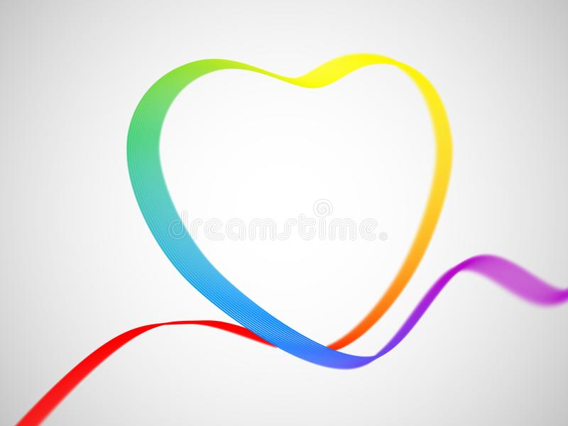 Valentine`s day greeting card: ribbon in heart shape painted as the rainbow flag royalty free illustration