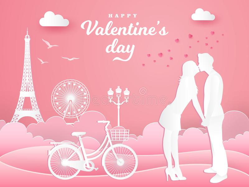 Valentine`s Day greeting card. romantic couple kissing in the park with bicycle on pink background. Paper cut style vector illustration royalty free illustration