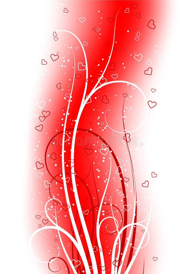 Valentine S Day Greeting Card With Scroll Heart On Abstract Back Royalty Free Stock Photography