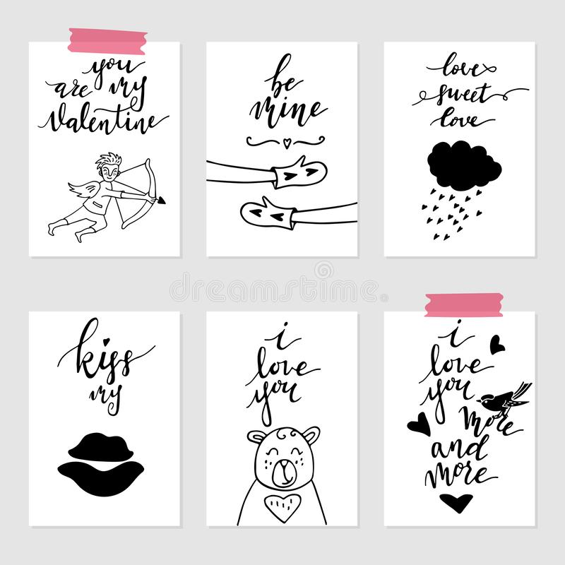 Valentine`s day greeting card set, hand drawn gift tags. Valentine`s day greeting card set. Hand drawn February 14 gift tags, labels or card collection. Doodle royalty free illustration