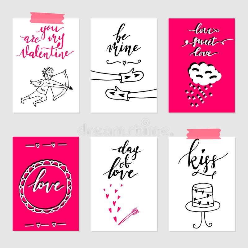 Valentine`s day greeting card set, hand drawn gift tags. Valentine`s day greeting card set. Hand drawn February 14 gift tags, labels or card collection. Doodle vector illustration