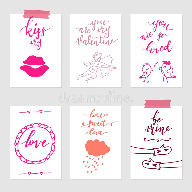 Valentine`s day greeting card set, hand drawn gift tags. Valentine`s day greeting card set. Hand drawn February 14 gift tags, labels or card collection. Doodle stock illustration