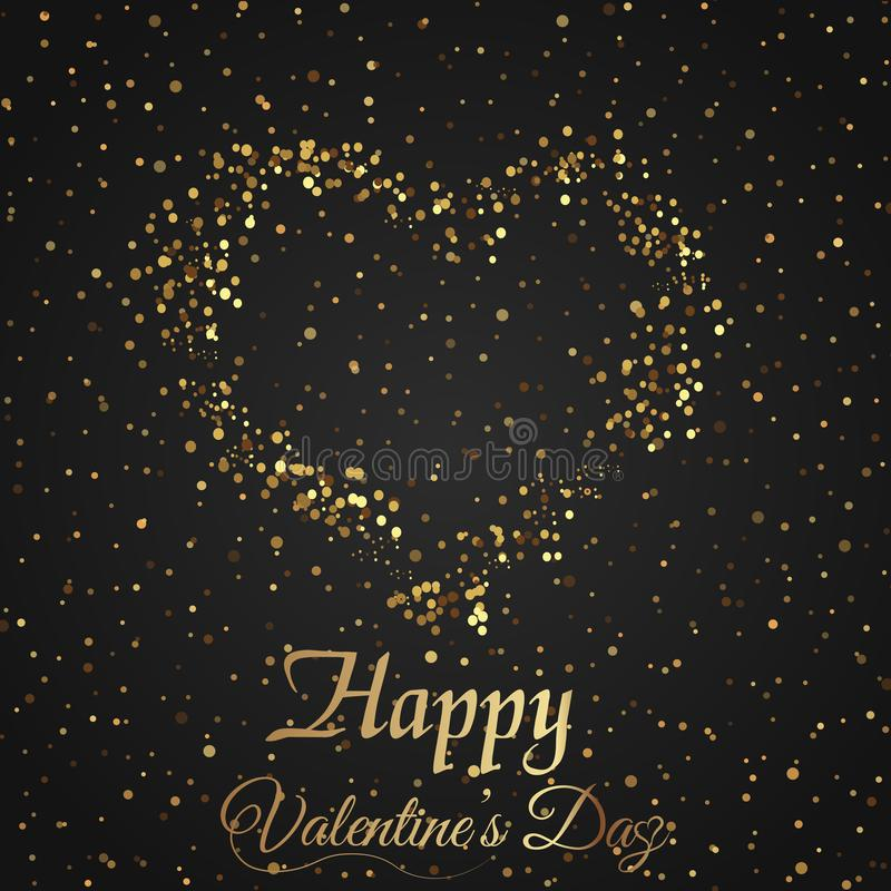 Valentine`s day greeting card with sparkles gold heart on black background. Vector royalty free illustration