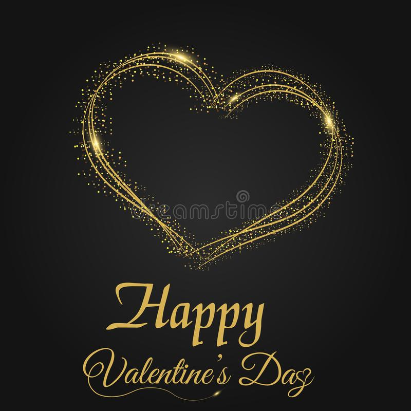 Valentine`s day greeting card with sparkles gold heart on black background. Vector stock illustration