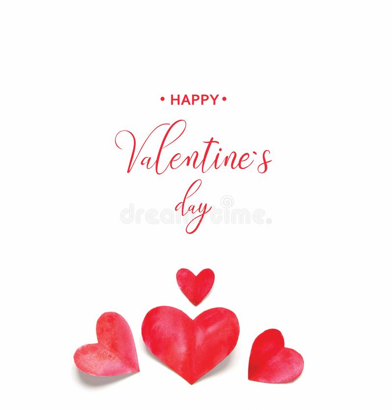 Valentine`s Day greeting card. Watercolor hearts stock images