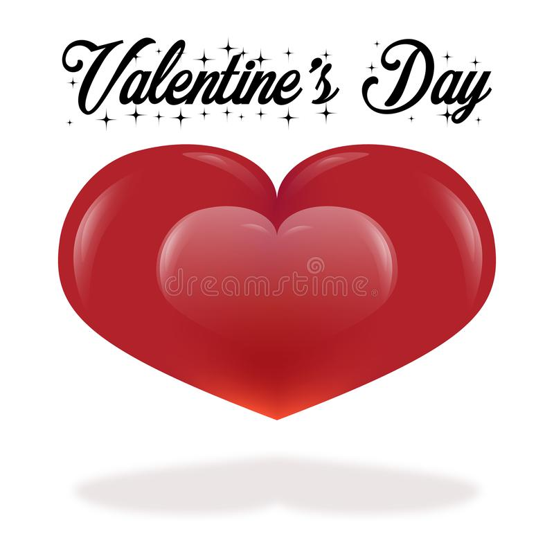 Valentine`s day greeting card on white background with copy space stock illustration