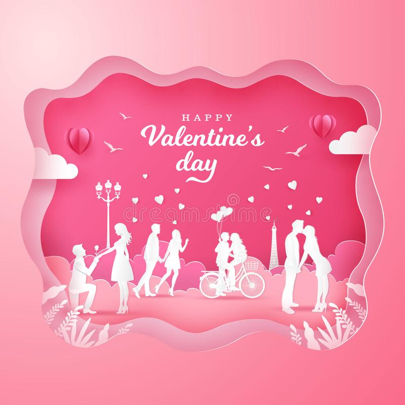 Valentine`s Day greeting cardwith romantic couples in love on pink background royalty free illustration