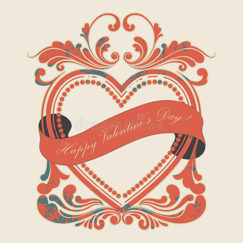 valentine's day grunge frame red royalty free stock photography