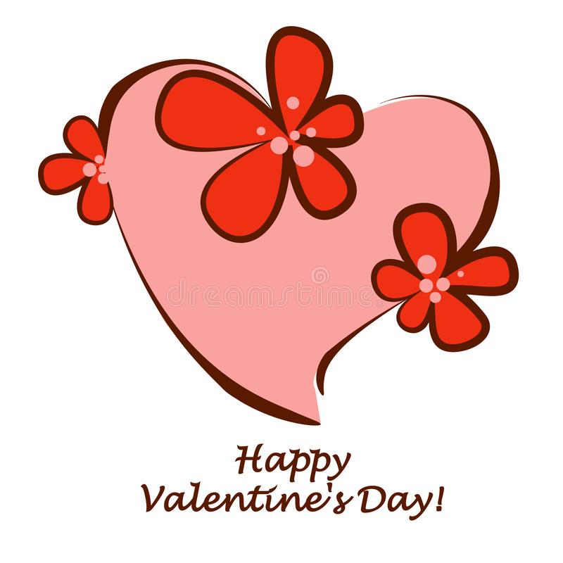 Valentine`s Day. Heart in flowers. Isolated Vector Illustration. stock images