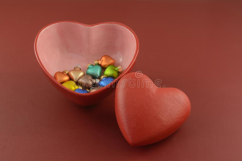 Valentine`s Day hearts and heart ornaments royalty free stock photo