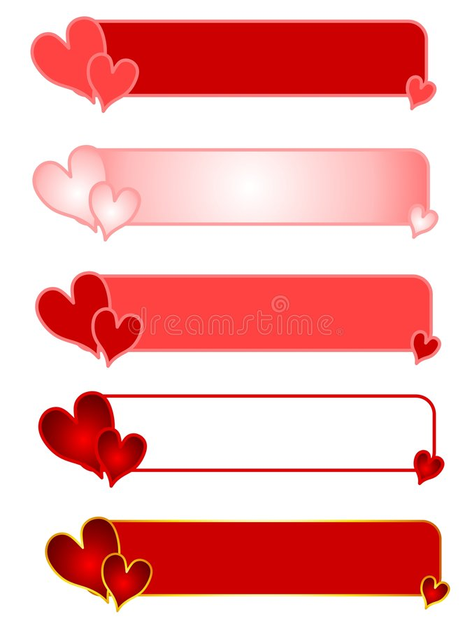 Valentine S Day Heart Logos Or Banners Stock Photos