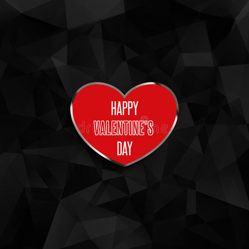 Valentine`s day heart on low poly background vector illustration