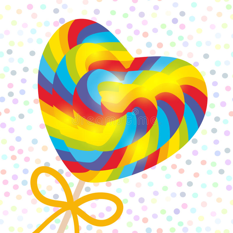 Valentine`s Day Heart shaped candy lollipop with bow, bright rainbow stripes, colorful spiral candy cane. on stick with twisted de vector illustration