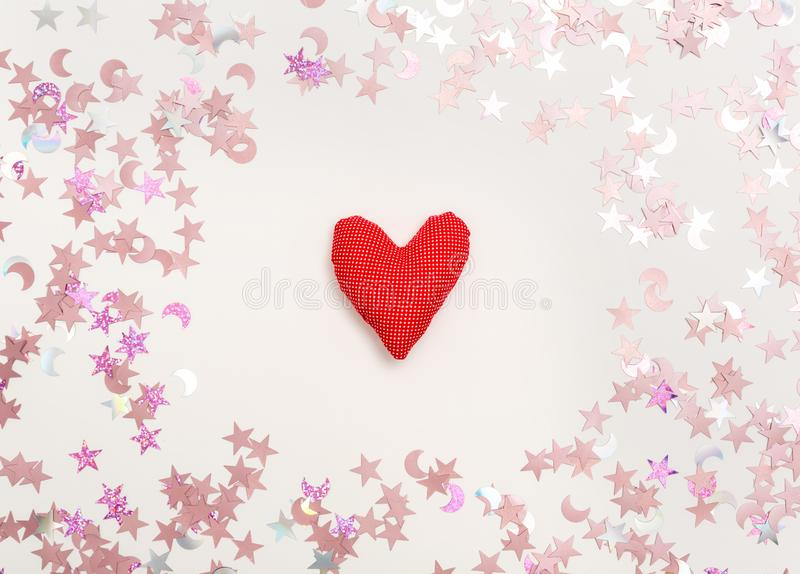 Valentine`s day heart shaped pillow stock photo