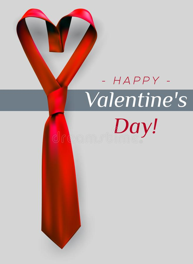 Valentine`s day heart tie. Valentine`s day poster greeting card design with heart shaped tie. Men`s red necktie formal love concept vector illustration