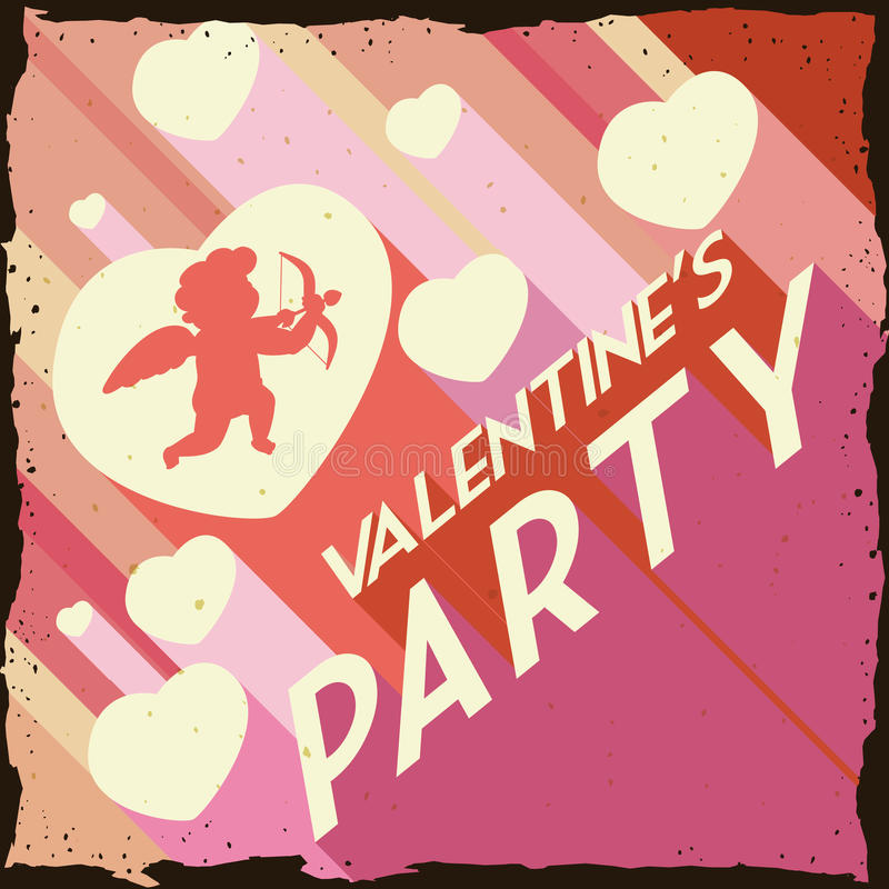 Valentine's Day with Hearts and Cupid in Retro Party Poster, Vector Illustration royalty free stock photos