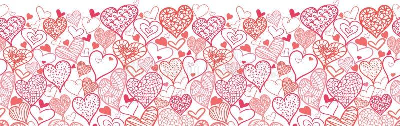 Valentine's Day Hearts Horizontal Seamless Pattern royalty free illustration
