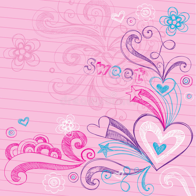 Download Valentine's Day Hearts Sketchy Doodles Vector Stock Vector - Image: 23453540