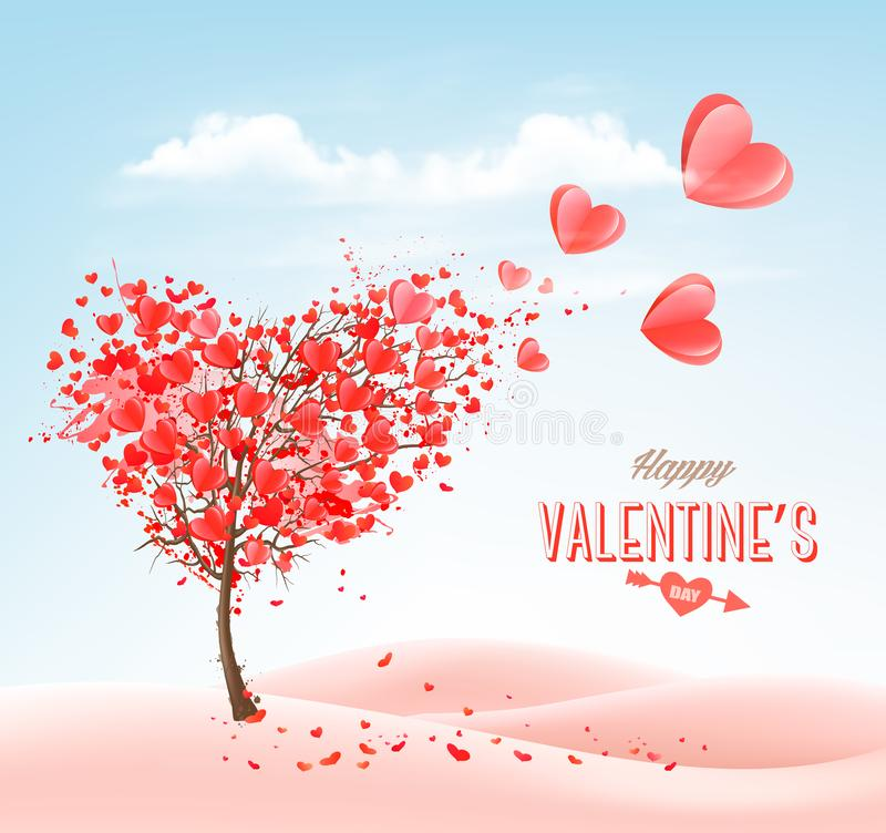 Valentine`s Day holiday background with heart shape tree and blue sky. Concept of love. Vector vector illustration