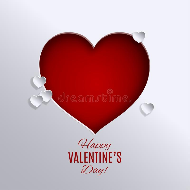Valentine`s day holiday design. Big red heart cutted out paper b royalty free illustration