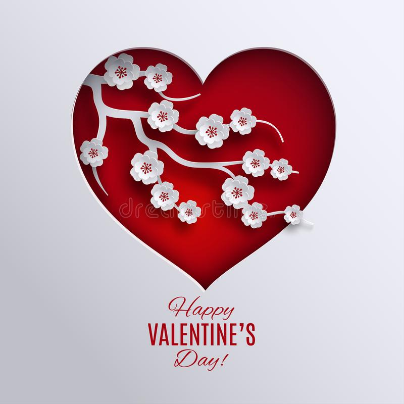 Valentine`s day holiday design. Paper red heart decorated vector illustration