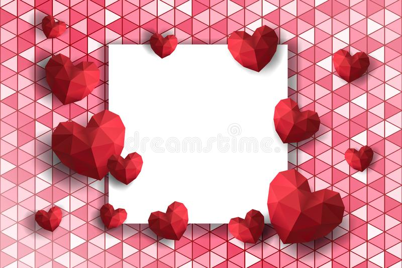 Valentine`s Day of Holiday. Flowers composition. Round frame made of rose flowers and hearts on polygon background. vector illustration