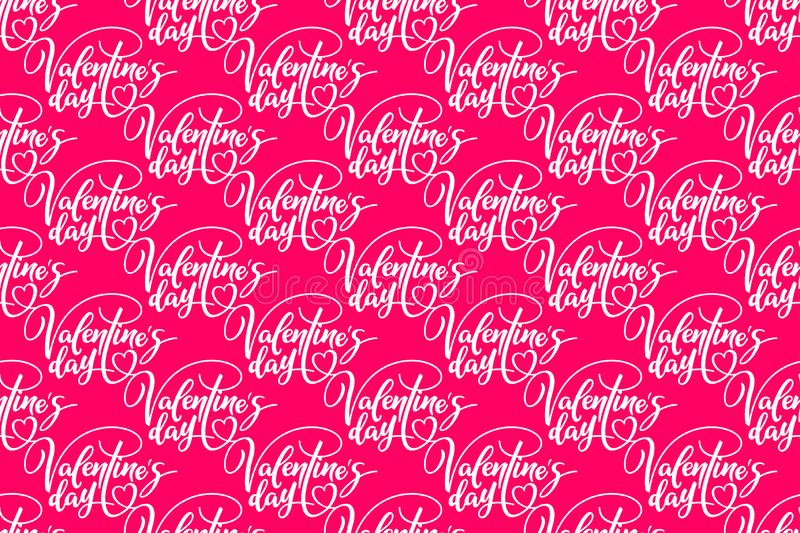 Valentine`s day. Holiday seamless pattern with lettering on pink background. Template for a banner, poster, shopping, discount,. Invitation. Vector illustration royalty free illustration