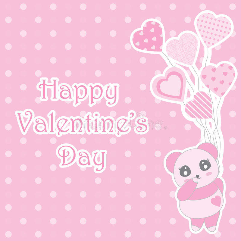 Valentine`s day illustration with cute baby pink panda brings balloons on polka dot background royalty free illustration