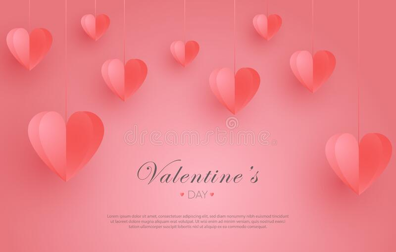 Valentine`s Day Illustration, with hanging origami hearts. Can be used for wallpaper, background, flyer, poster, brochure, banner, stock image