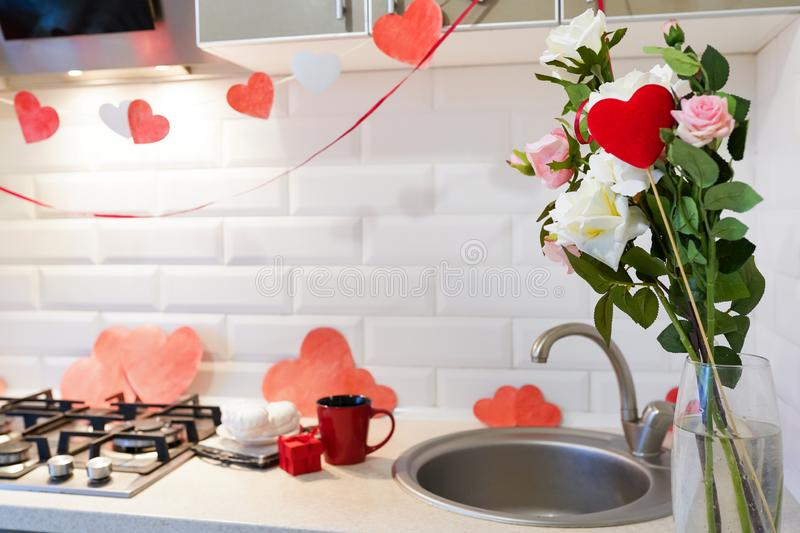 Valentine s Day and kitchen interior , sweet home.  royalty free stock photos