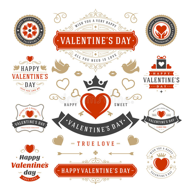 Valentine's Day Labels and Cards Set, Heart Icons. Symbols, Greetings Cards, Silhouettes, Retro Typography Vector Design Elements. Valentines day cards royalty free illustration