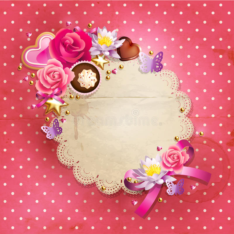 Download Valentine`s Day lacy frame stock vector. Illustration of chocolate - 28659014