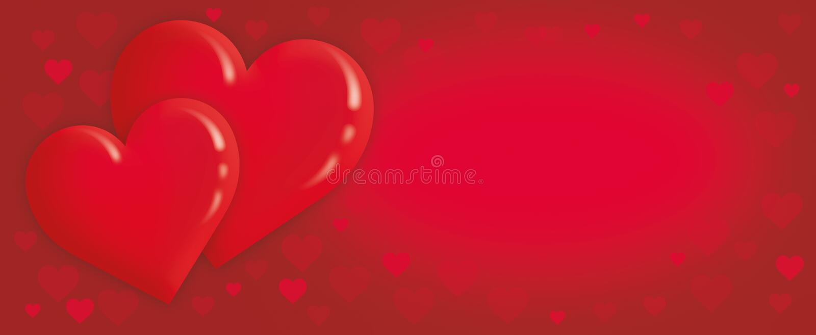 Valentine`s day, love background with red hearts vector illustration