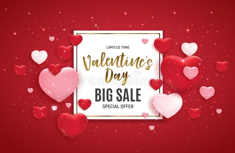 Valentine`s Day Love and Feelings Sale Background Design. Vector illustration royalty free illustration