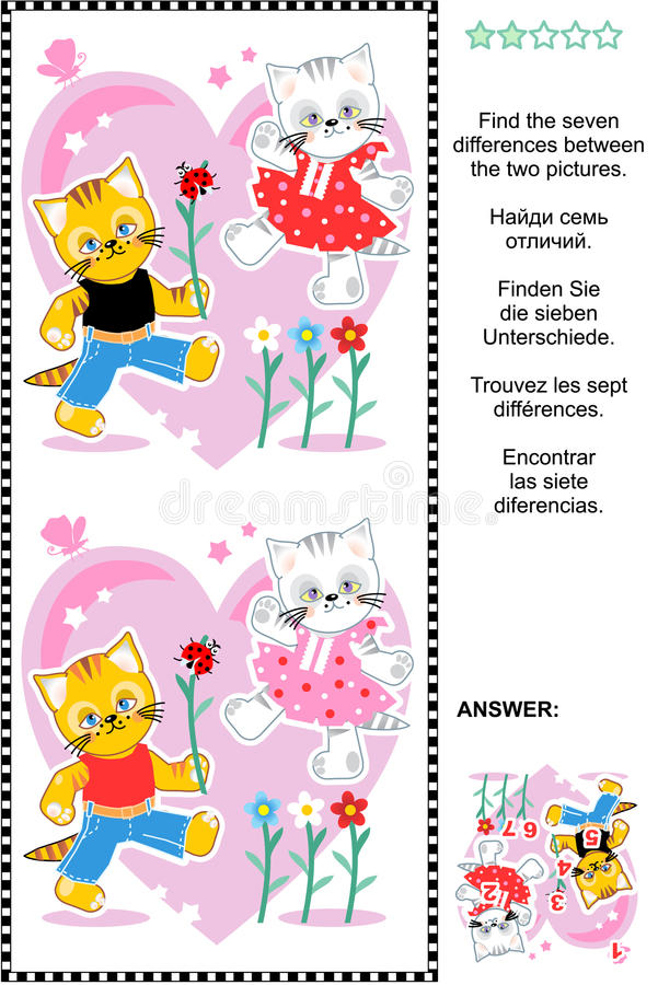 Valentine's Day or love find the differences picture puzzle royalty free illustration