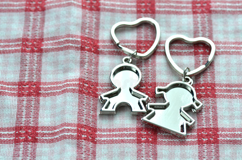 Valentine's Day Love Key Chains. A pair of love key chains for Valentine's Day stock image
