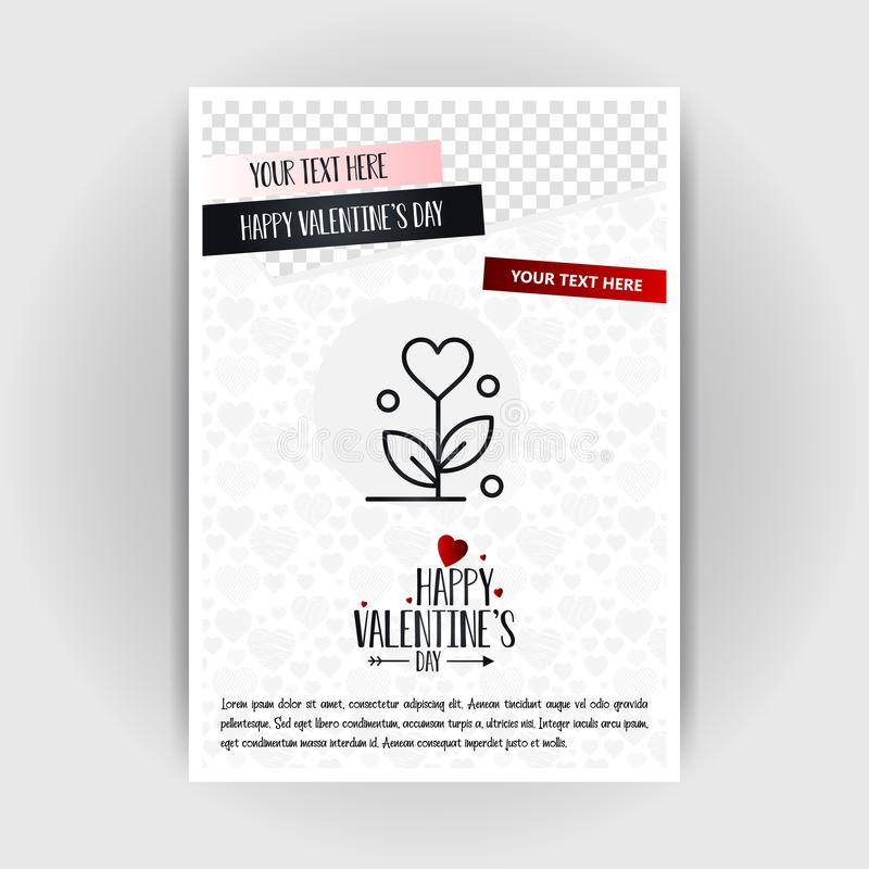 Valentine's Day Love Poster Template. Place for Images and text, vector illustration. Vector EPS10 Abstract Template background stock illustration