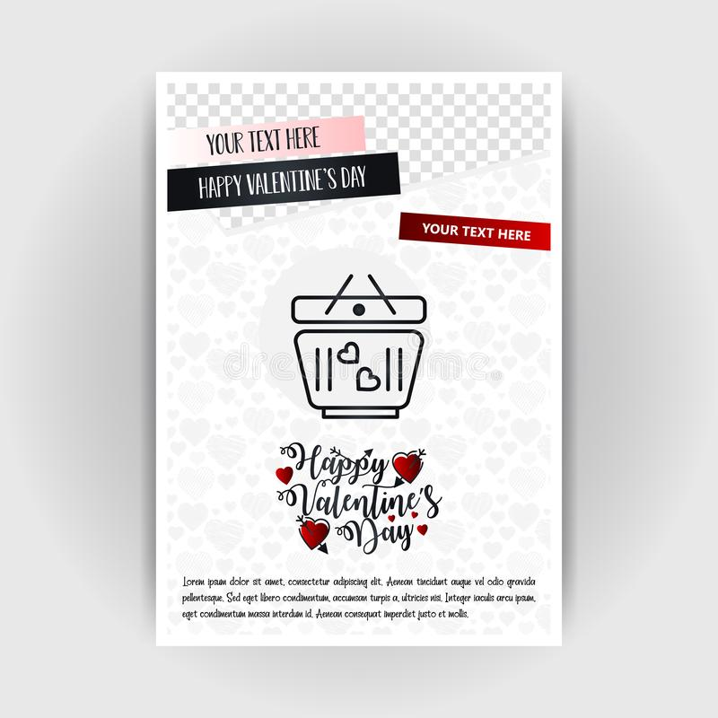 Valentine's Day Love Poster Template. Place for Images and text, vector illustration. Vector EPS10 Abstract Template background royalty free illustration