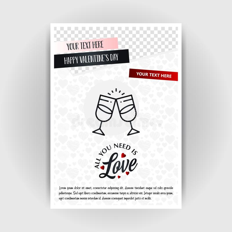 Valentine\'s Day Love Poster Template. Place for Images and text, vector illustration. Vector EPS10 Abstract Template background royalty free illustration