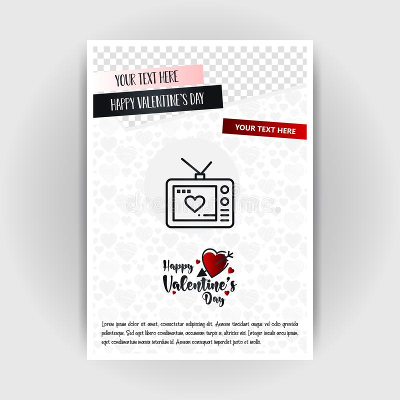 Valentine\'s Day Love Poster Template. Place for Images and text, vector illustration. Vector EPS10 Abstract Template background stock illustration