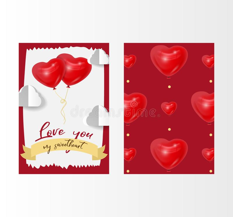 Valentine`s day love vector illustration with red 3d heart shape balloons and white clouds. February 14, love card with stock illustration