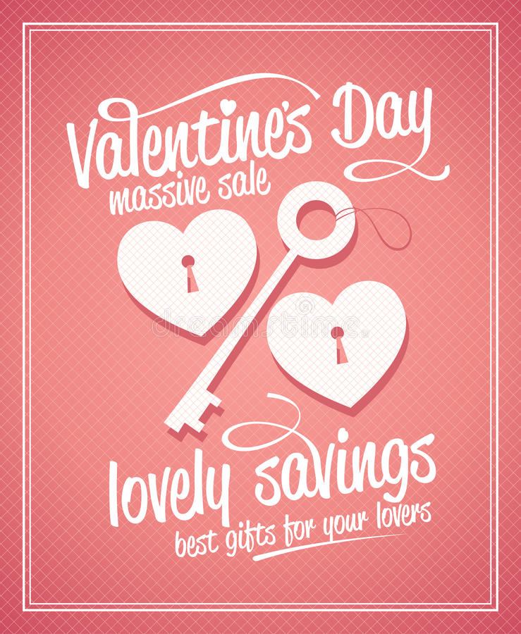Valentine`s day massive sale typographic design. Valentine`s day massive sale typographic design with key and hearts stock illustration