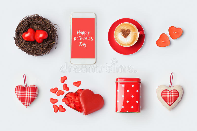 Valentines Day Mock Up Template Design Love Symbols And Objects On