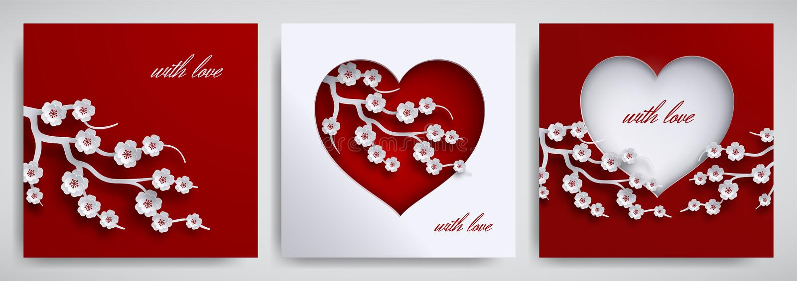 Valentine`s day, mother`s day design set. Greeting card, poster, banner collection. Heart with cherry flowers branch on red, white stock illustration