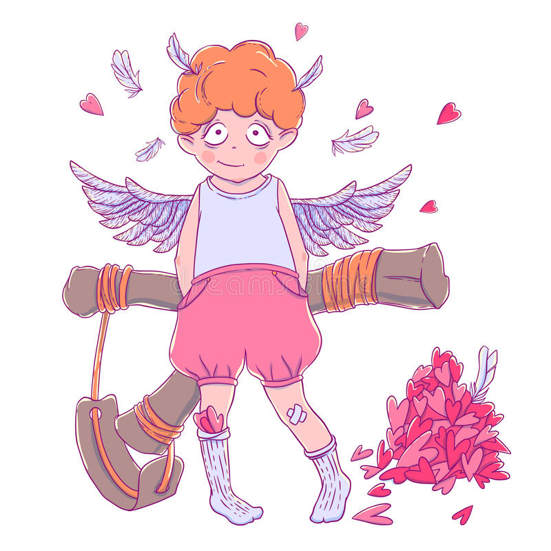 Valentine`s day. Naughty cute curly Cupid-boy with slingshot behind his back, wings and a bunch of hearts. Vector illustration isolated on white. T-shirt stock illustration