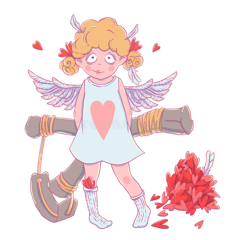 Valentine`s day. Naughty cute curly Cupid-girl with slingshot behind her back, wings and a bunch of hearts. Vector illustration isolated on white. T-shirt stock illustration