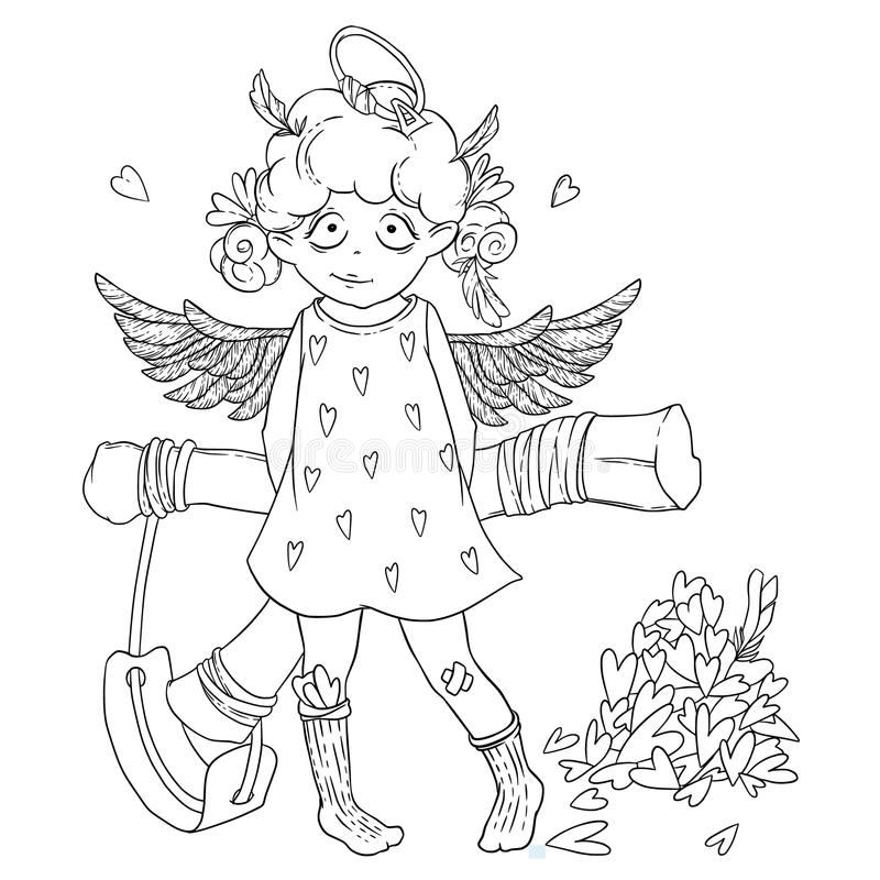 Valentine`s day. Naughty cute curly Cupid-girl with slingshot behind her back, wings and halo. Vector illustration isolated on white. Coloring page vector illustration