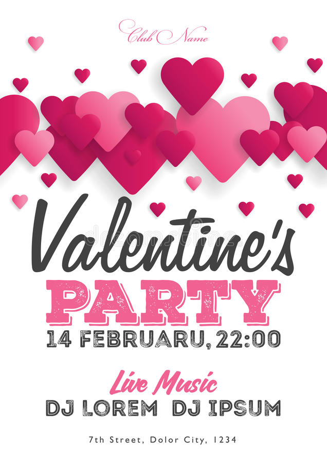 Valentine`s Day party invitation flyer. The template for the club, musical evenings. Speech by musicians, DJs. Night festive party royalty free illustration